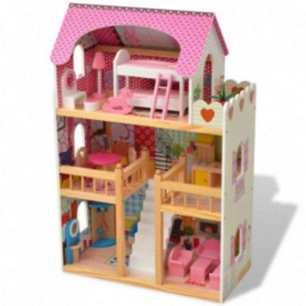 Oferta de Casa de muñecas de 3 pisos madera 60x30x90 cm por 98,01€