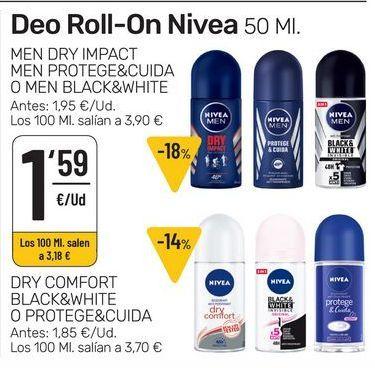 Oferta de Desodorante roll on Nivea por 1,59€