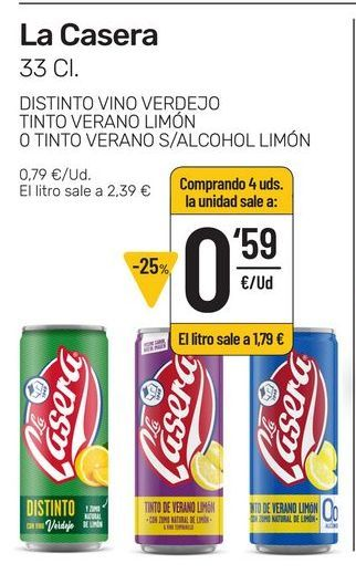 Oferta de Bebidas La Casera por 0,59€