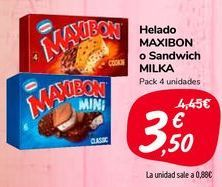 Oferta de Helado MAXIBON o Sandwich MILKA  por 3,5€