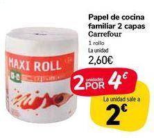 Oferta de Papel de cocina familiar 2 capas Carrefour  por 2,6€