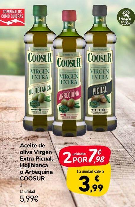Oferta de Aceite de oliva Virgen Extra Picual, Hojiblanca o Arbequina COOSUR por 5,99€