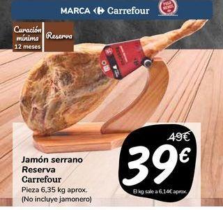 Oferta de Jamón serrano Reserva Carrefour  por 39€