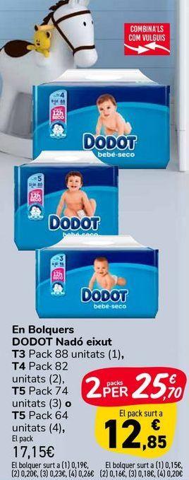 Oferta de En Pañales DODOT Bebé seco TE, T4 o T5  por 17,15€