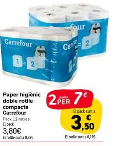 Oferta de Papel higiénico doble rollo compacto Carrefour  por 3,8€
