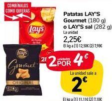 Oferta de Patatas LAY'S Gourmet o LAY'S sal  por 2,25€