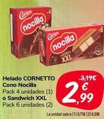 Oferta de Helado CORNETTO Con Nocilla o Sandwich XXL  por 2,99€