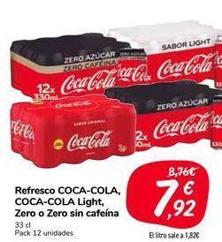 Oferta de Refresco COCA-COLA, COCA-COLA Light, Zero o Zero sin cafeína  por 7,92€