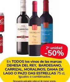 Oferta de En TODOS los vinos de las marcas DEHESA DEL REY, BARDESANO, CARRIZAL, MORALINOS, DAMA DE LAGO O PAZO DAS ESTRELLAS  por