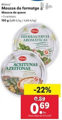 Oferta de Mousse de queso Milbona por 0,69€