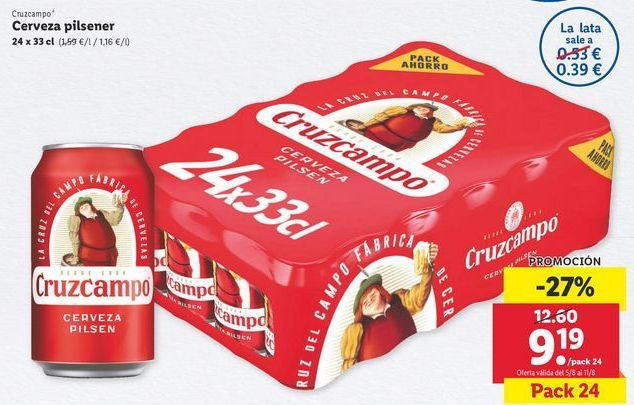 Oferta de Cerveza Cruzcampo por 9,19€