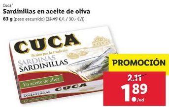 Oferta de Sardinillas Cuca por 1,89€
