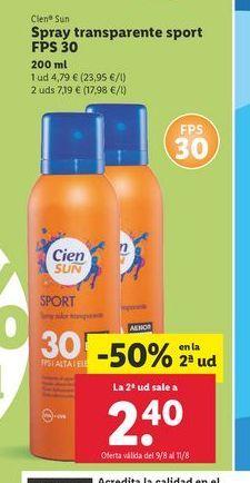 Oferta de Spray solar Cien Sun por 2,4€
