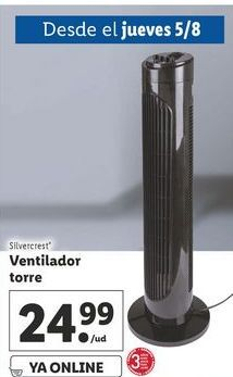 Oferta de Ventilador torre  silvercrest por 24,99€