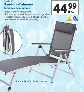 Oferta de Tumbona de aluminio Florabest por 44,99€