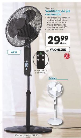 Oferta de Ventilador de pie Silvercrest por 29,99€