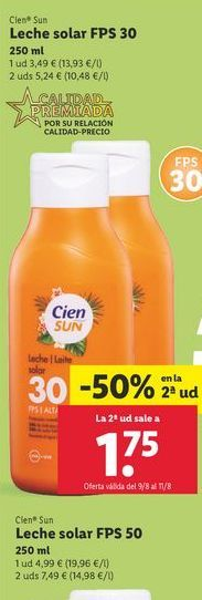 Oferta de Leche solar Cien Sun por 1,75€