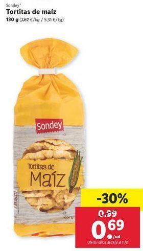 Oferta de Tortitas de maíz sondey por 0,69€