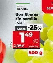 Oferta de Uvas blanca sin semilla  por 1,49€