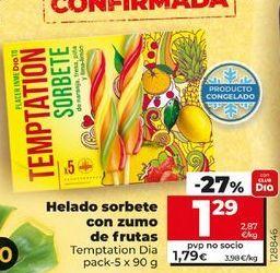 Oferta de Helados sorbete con zumo de frutas  por 1,29€