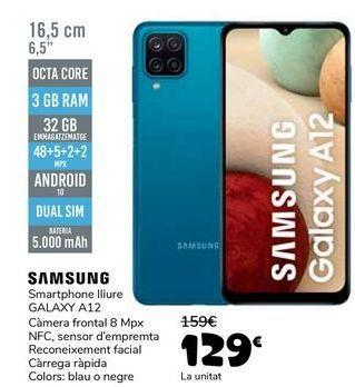 Oferta de SAMSUNG Smartphone libre GALAXY A12 por 129€