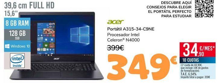 Oferta de ACER Portátil A315-34-C9NE por 349€