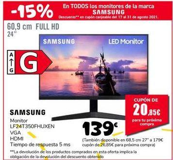 Oferta de SAMSUNG Monitor LF24T350FHUXEN por 139€