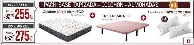 Oferta de Pack Base + Colchón + Almohadas por 275€