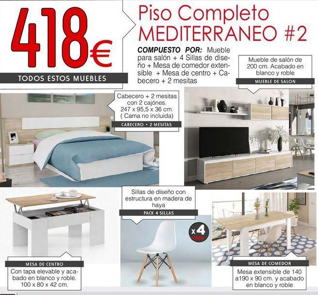 Oferta de Cabecero, 2 mesitas, mueble de salón, mesa de centro, 4 sillas y mesa de comedor. por 418€