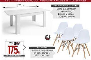 Oferta de Mesa de salón + 4 sillas por 175€