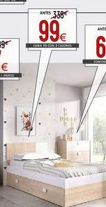 Oferta de Cama juvenil Dina + dos cajones bajo cama por 99€