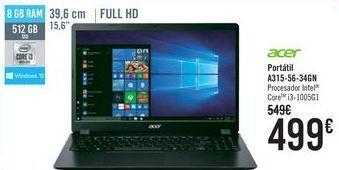 Oferta de Acer Portátil A315-54-34GN  por 499€