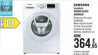 Oferta de SAMSUNG Lavadora WW90T4540TE ADDWASH por 364,65€