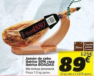 Oferta de Jamón de cebo ibérico 50% raza ibérica BOADAS por 89€