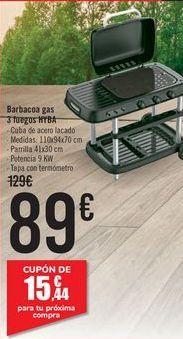 Oferta de Barbacoa gas 3 fuegos HYBA  por 89€