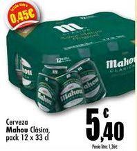 Oferta de Cerveza Mahou clásica, pack 2 x 33 cl por 5,4€