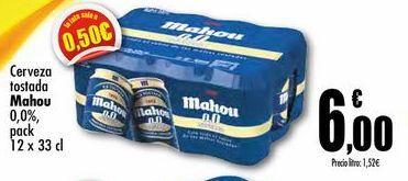 Oferta de Cerveza tostada Mahou 0,0% pack 12 x 33cl por 6€