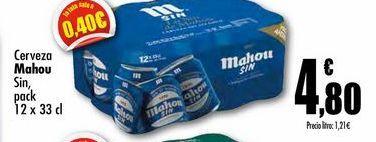 Oferta de Cerveza Mahou Sin, pack 12 x 33 cl por 4,8€