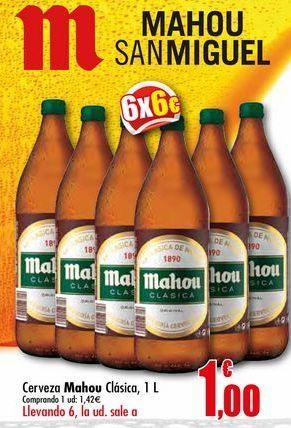 Oferta de Cerveza Mahou clásica, 1 l por 1,42€