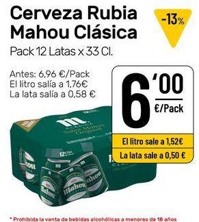 Oferta de Cerveza Mahou por 6€