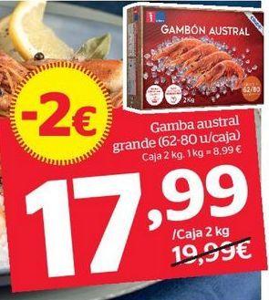 Oferta de Gamba austral grande (62-80 u/caja)  por 18,99€
