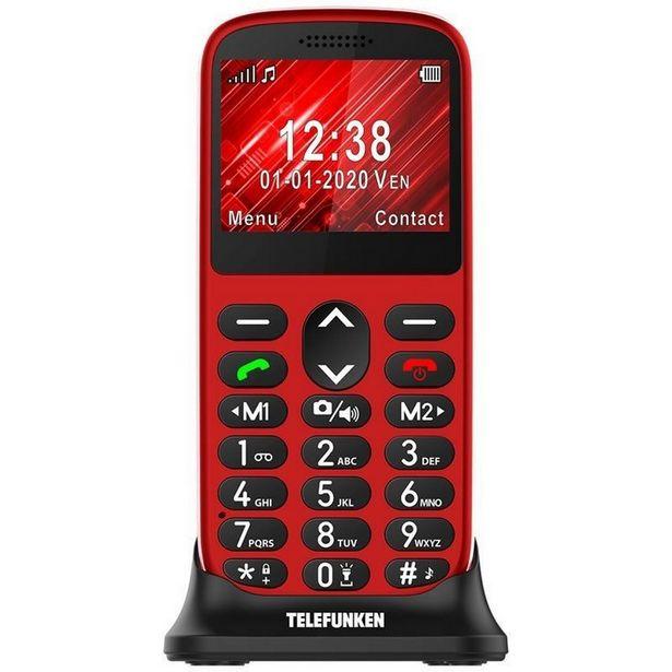 "Oferta de Móvil - Telefunken S420, Para mayores, Bluetooth, 2.21"", 64 MB, Compatible Audífonos, Rojo por 25,49€"