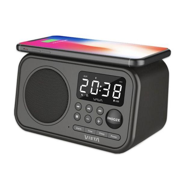 Oferta de Radio despertador - Vieta Pro Wake VH-AQ100BK, FM, Bluetooth, Carga inductiva, USB, Negro por 31,41€