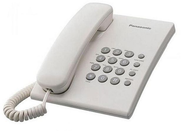 Oferta de Teléfono - Panasonic KX-TS500EXW, Con 6 niveles de volumen del auricular, Blanco por 12,79€