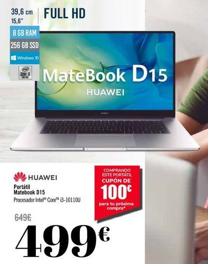 Oferta de HUAWEI Portátil Matebook D15 por 499€