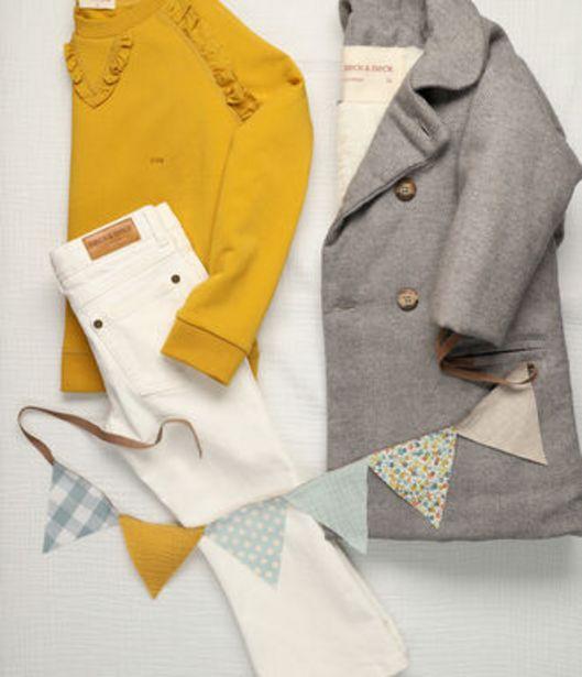 Oferta de Abrigo de niña de franela espiguilla en colores crudo y gris por 100€