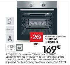 Oferta de Horno de convección Corberó por 169€