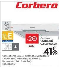 Oferta de Campana 60 cm CORBERÓ CCSC60220CVW por 41,99€