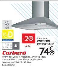 Oferta de Campanas extractoras Corberó por 74,99€