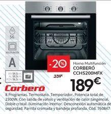 Oferta de Horno Multifunción CORBERÓ CCHS200MFX por 189€